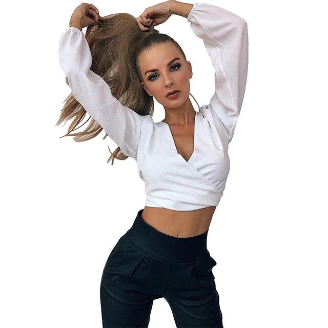 Anself Fashion Women Blouse Tie-Back Deep V Neck Long Sleeve Blusa Feminina Sexy Cutout Shirt Crop Top 2019 White/Yellow/Black