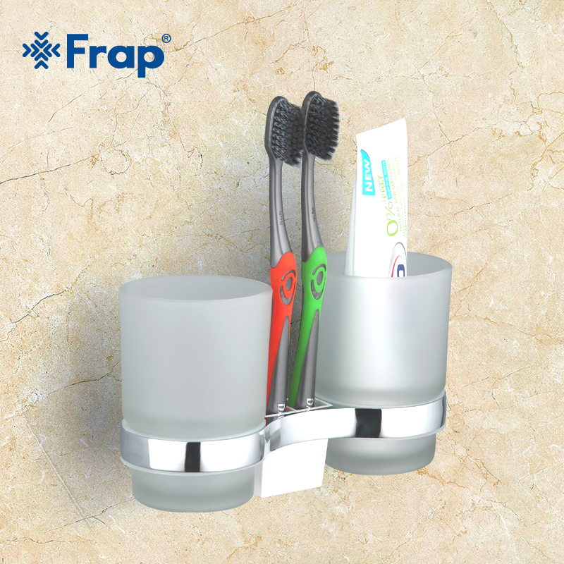 FRAP 1set High Quality Wall-mount Cup Holder With 2 Pcs Glass Cups Bathroom Shelves Accessories Double Toothbrush Holder F1908