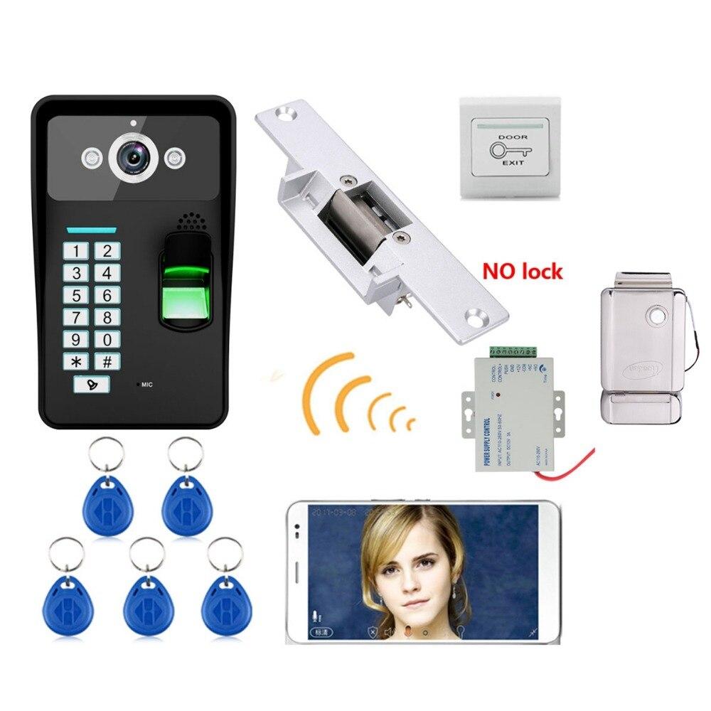 Home Set HD 720P Wireless WIFI RFID Password Video Door Phone Doorbell Intercom System Night Vision + Electric Strike Lock