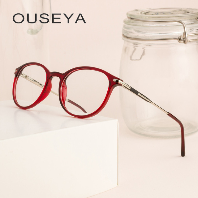 85004066783 TR90 Women Round Glasses Clear Glass Transparent Optical No Degree Ladies Grade  Retro Eyeglasses Frame Women  CD0590