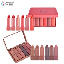 Brand HengFang 6 Colors/Set Lip set Long-lasting Moisturizer Lipstick Nude Pumpkin and Red With Mirror Lips Makeup 1.5gx6