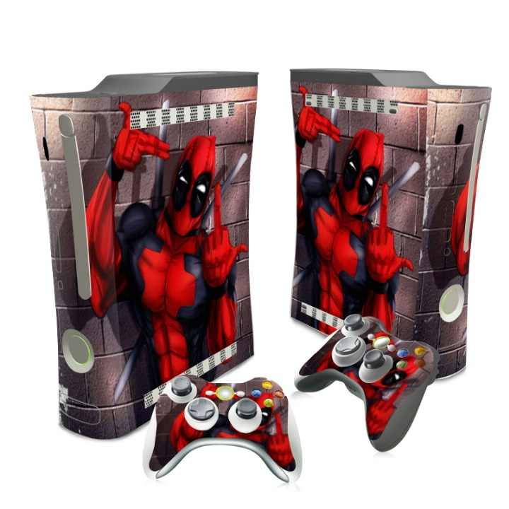 New Design Deadpool Vinyl Decal Skin Sticker cover for Xbox 360 Fat Console Controller