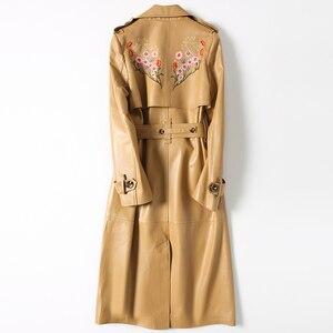 Image 2 - AYUNSUE veste dautomne en cuir véritable pour femme, manteau femme avec ceinture DLF5809