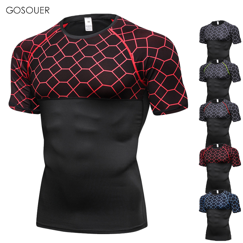 New Men  Sport T Shirt Fitness Short Sleeve Running Shirts Gym Clothing Soccer Jersey Body Fit Tennis