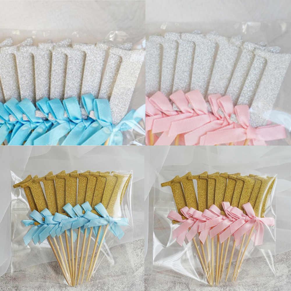 Feliz 1 er cumpleaños 10 piezas Primer Cumpleaños Cupcake Toppers bebé niño niña 1 er año fiesta pastel decoración suministros
