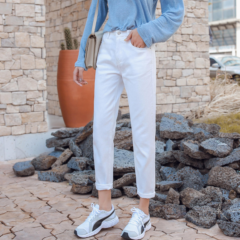 guuzyuviz jean femme taille haute casual loose white jeans women 2019 spring basic boyfriend