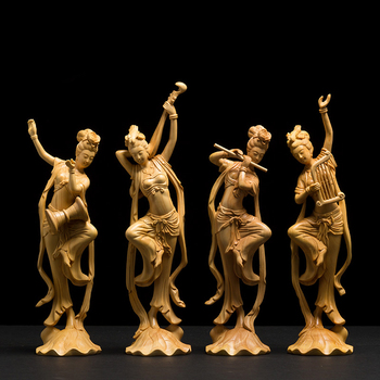 Musical Dancing Chinese Boxwood Carved Wooden Figures