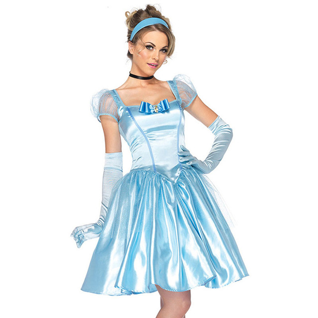 2302d2c5c3 Party Blue Fairy Tail Cosplay Hot Sexy Cinderella Costume Adult Princess Dress  Women Halloween Uniform Costumes