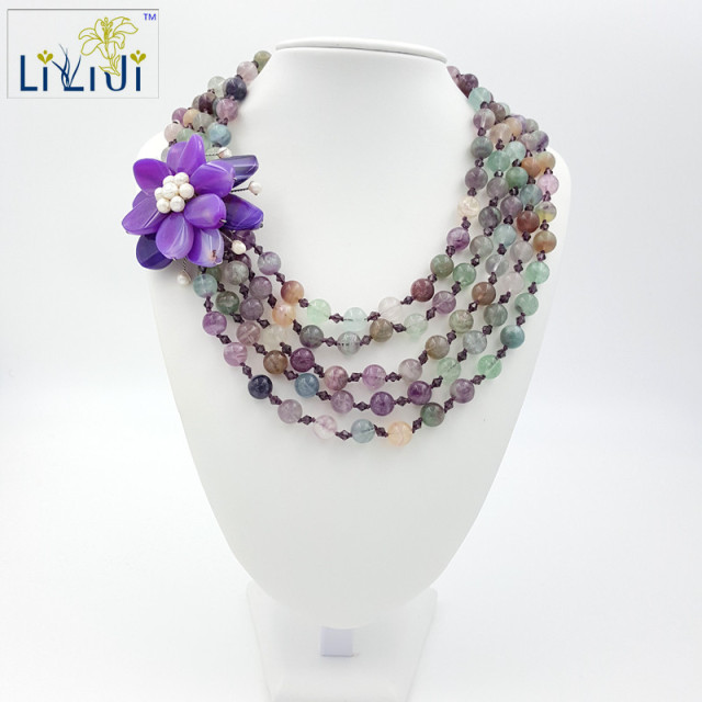 Natural Fluorite 10mm round beads,Purple Agates Manmade Big Flower beads 5 Strands Big Necklace 20inches