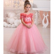 2017 Princess Pink Lace Flower Girls Dress Sexy Off The Shoulder Kids Party Dress Ball Gown V Neck Formal Girls Pageant Dresses
