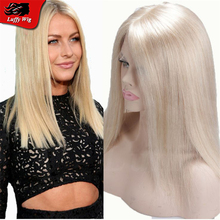 Fashion Style Glueless Straight Lace Front Wig Middle Part Blonde Human Hair Full Lace Wig Silky Straight With Bleached Knots