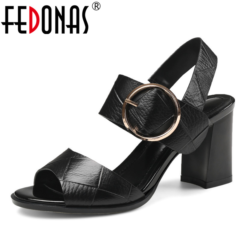 FEDONAS Summer Shoes Woman 2020 Genuine Leather Elegant Gladiator High Heeled Pumps Fashion Platforms Female Shoes