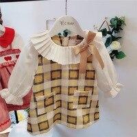 little baby clothes 2019 new spring dress Rectangular plaid pattern girls cute long sleeve dress toddler cotton dresses
