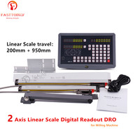 2 Axis Linear Scale Travel: 200mm & 950mm Linear Encoder Digital Readout DRO for Milling Machine