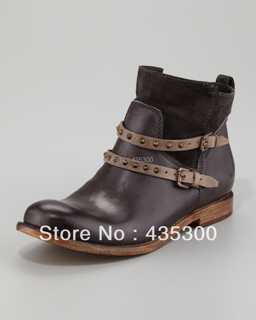 925a1c1b5bb Wholesale Women's Short Boots Ankle Boots Alberto Fermani Emma Stud-Strap  Flat Boot, Anthracite Real Cowhide Leather Booties