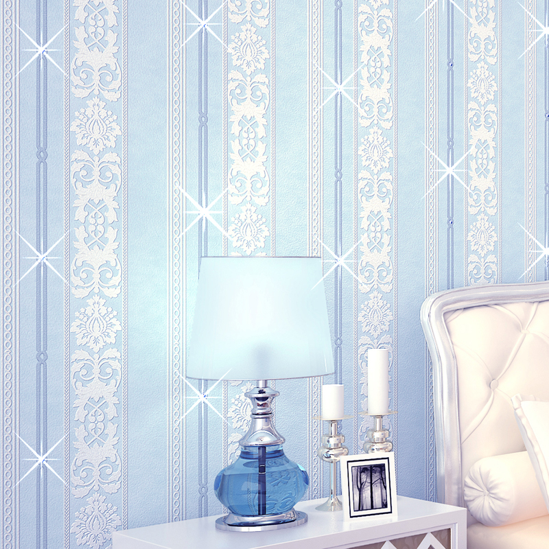 beibehang Mediterranean striped diamond embroidery Papel de parede 3d wallpaper for wall paper home decor papier peint sticker beibehang vertical striped embroidery diamond in the mediterranean bedroom living room wallpaper tv wall papel de parede