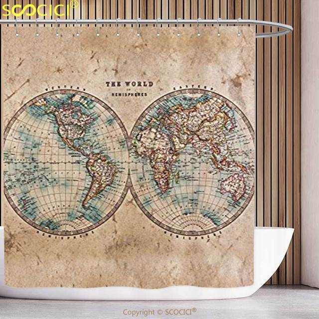 Waterproof Shower Curtain Earth Tones Decor Collection Old World Map     Waterproof Shower Curtain Earth Tones Decor Collection Old World Map from  1800s for Geography and History