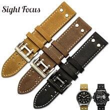20mm 22mm Crazy Horse Calf Leather Straps for Hamilton Watch Band Rivet Mens Military Pilot Khaki Field Aviation Watch Belts Uhr