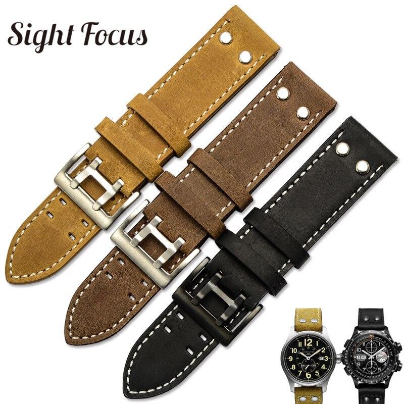 купить 22mm Crazy Horse Calf Leather Straps for Hamilton Watch Band Khaki Rivet Mens Military Pilot Field Aviation Watch Bracelet Belts по цене 1161.18 рублей
