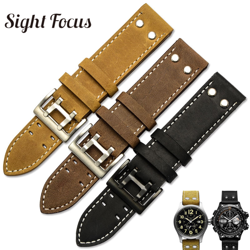 22mm Crazy Horse Calf Leather Straps for Hamilton Watch Band Rivet Mens Military Pilot Khaki Field Aviation Watch Bracelet Belts