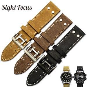 Image 1 - 22mm fou cheval veau cuir sangles pour Hamilton Zenith Seiko bracelet de montre Rivet militaire pilote kaki champ Aviation montre ceintures
