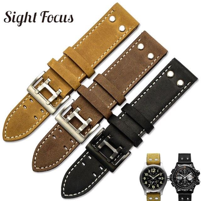 22mm fou cheval veau cuir sangles pour Hamilton Zenith Seiko bracelet de montre Rivet militaire pilote kaki champ Aviation montre ceintures