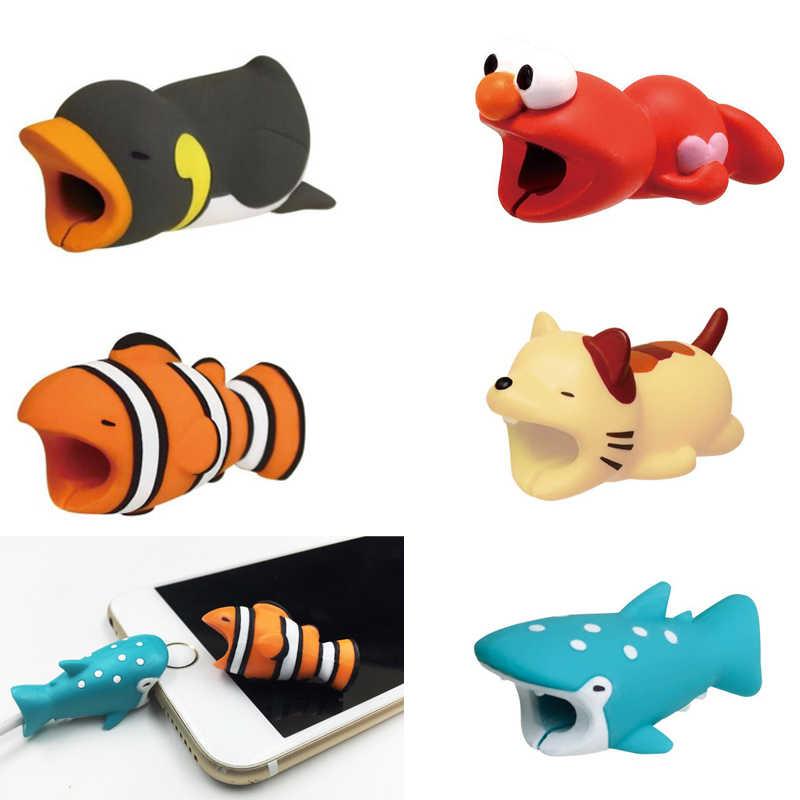 Bonito Dos Desenhos Animados Cabo Mordida Protetor Protetor de Animais Para Suporte do Cabo de telefone Cabo do Carregador Mordidas de Animais Panda Peixe Tubarão Brinquedos Do Cão