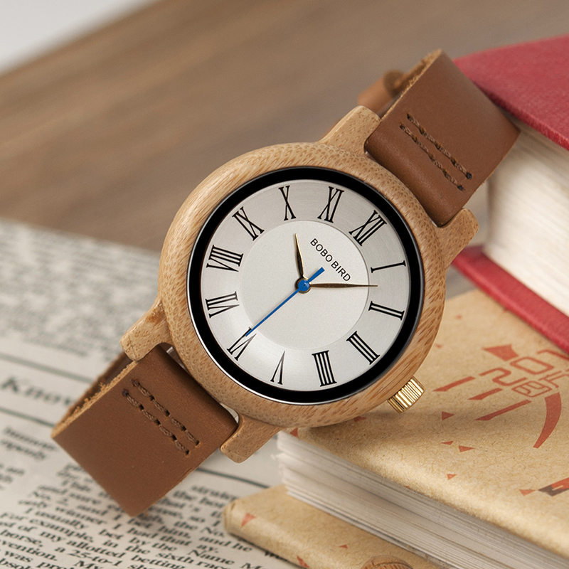 BOBO BIRD Wood Bamboo Watch Lovers nahast bänd Peened kellad Quartz - Meeste käekellad - Foto 3