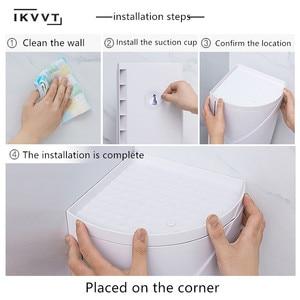 Image 5 - Rotatable bathroom shelf  Plastic Triangle Storage Rack Wall absorbing Cosmetic Storage Box Free Punching Bathroom Accessories