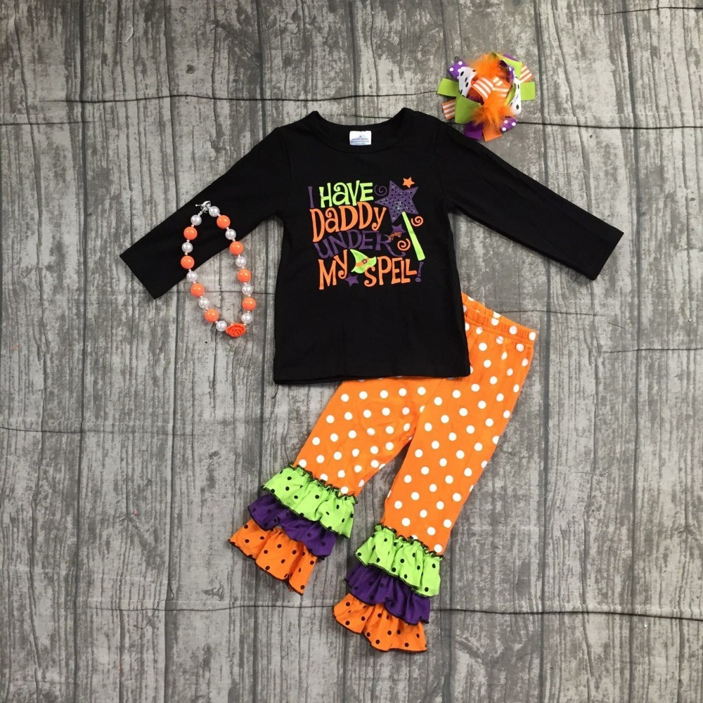 Fall clothing baby girls Halloween outfits boutique children I have daddy under my spell pant cotton sets match with accessories
