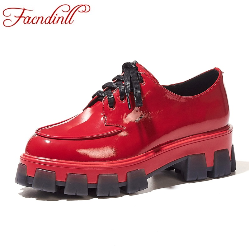 FACNDINLL brand women pumps 2019 new autumn genuine leather high heels black red shoes woman dress casual shoes pumps size 34 39 in Women 39 s Pumps from Shoes
