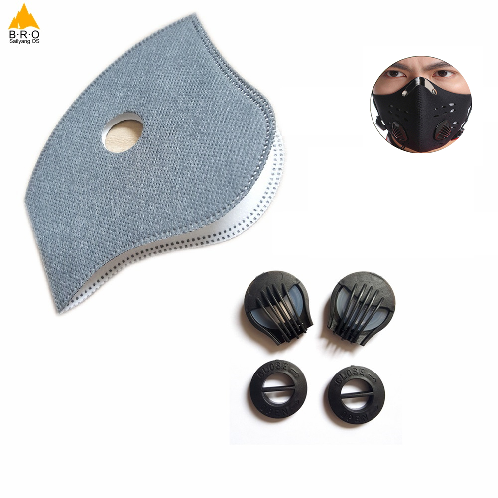 Activated Carbon Mask Filter For Cycling Bike Bicycle Masks Valve Cap 6 Layer Air Cleaner Dust Pollution PM 2.5 Smog Mask Filter