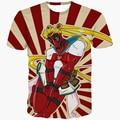 Funny Sailor Moon Deadpool t shirts tees Men Women Summer Casual tee shirts Stripe tshirts Comics Badass Deadpool 3D t shirt