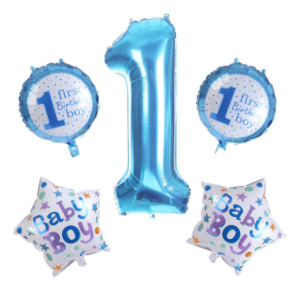 1pc Baby Child 1st Anniversary Party Decoration Love Pentagram Star Digital Foil Balloon Pink Blue Birthday Decorations Supplies