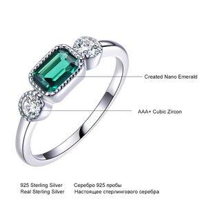 Image 4 - UMCHO anillos de plata de ley 925 auténtica de Nano Esmeralda rusa para mujer, anillo Vintage de piedra natal de mayo para mujer, joyería de marca fina