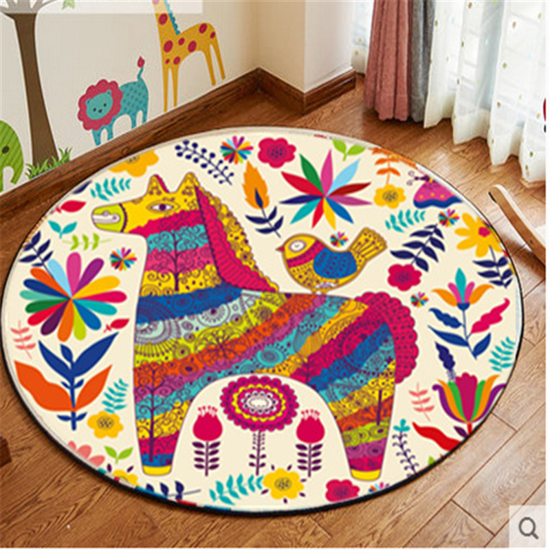 Home decor kids bedroom colorful animal carpet cat deer Children round play mat cartoon rugs tapis computer chair decor mats