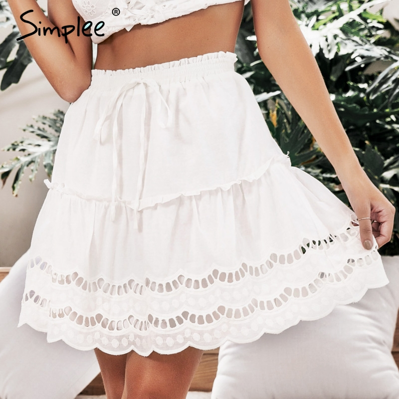 Simplee A-line Embroidery White Women Skirt High Waist Floral Summer Mini Skirts Elegant Casual Korean Cotton Skirt Female 2019