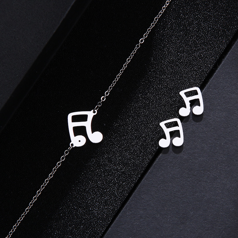 Stainless Steel Set Musical Notes Necklace Bracelets Earrings IMG_1647