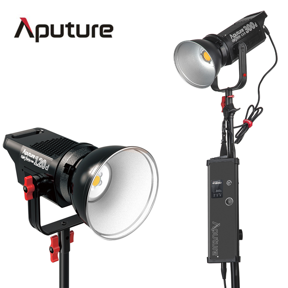 Aputure LS C300d + LS C120d COB chip light TLCI CRI 96+ professional shooting filming light outdoor led studio light V-mount aputure ls mini 20 3 light kit two mini 20d and one mini 20c led fresnel light tlci cri 96 40000lux 0 5m 3 light stand case