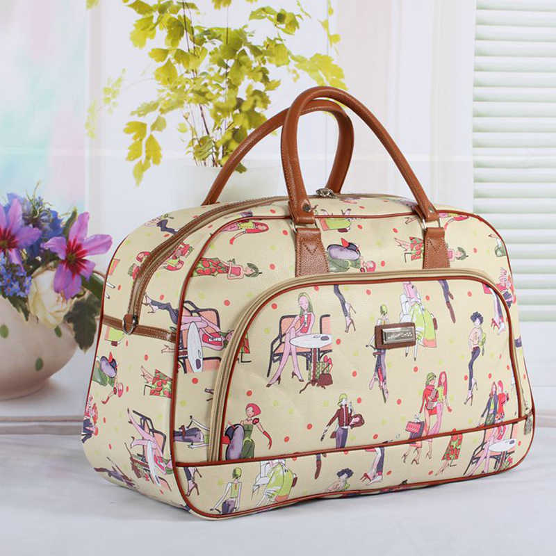 Women Waterproof Leather Travel Duffel Bag Women  Casual Large Capacity Handbag Bag New Beauty Lady Print Luggage Travel bags