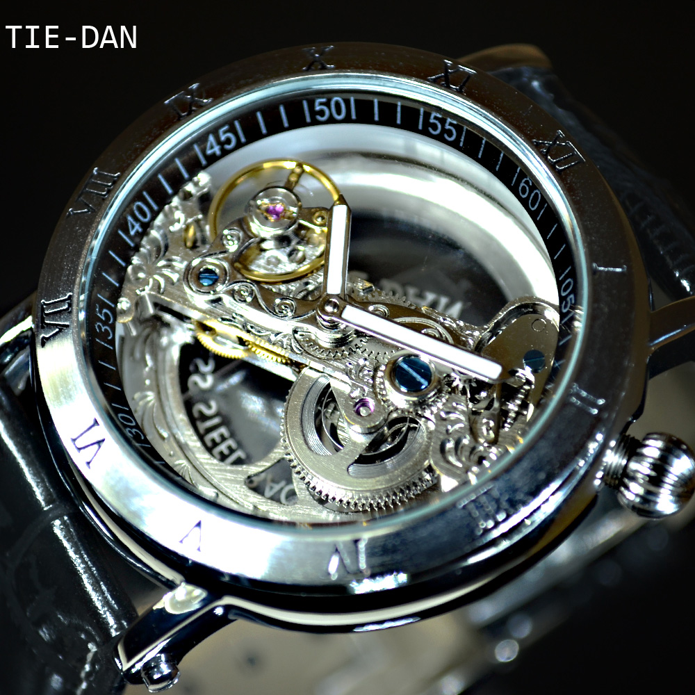 Luxury Brand TIEDAN Tourbillon Automatic Mechanical Watch Men Transparent Skeleton Wristwatch Male Fashion Sport Business Watch новогоднее подвесное украшение sima land счастья диаметр 8 см