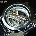 Marca de luxo tiedan turbilhão automáticas homens mecânicos do relógio esqueleto transparente relógio de pulso de moda masculina de negócios do esporte relógio