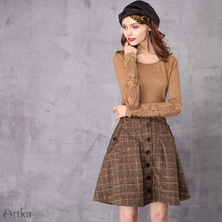 2018 QA10058Q 用冬の女性のウールスカートロリータショートスカート女の子のためのヴィンテージ格子縞のスカートミニサイア States 5