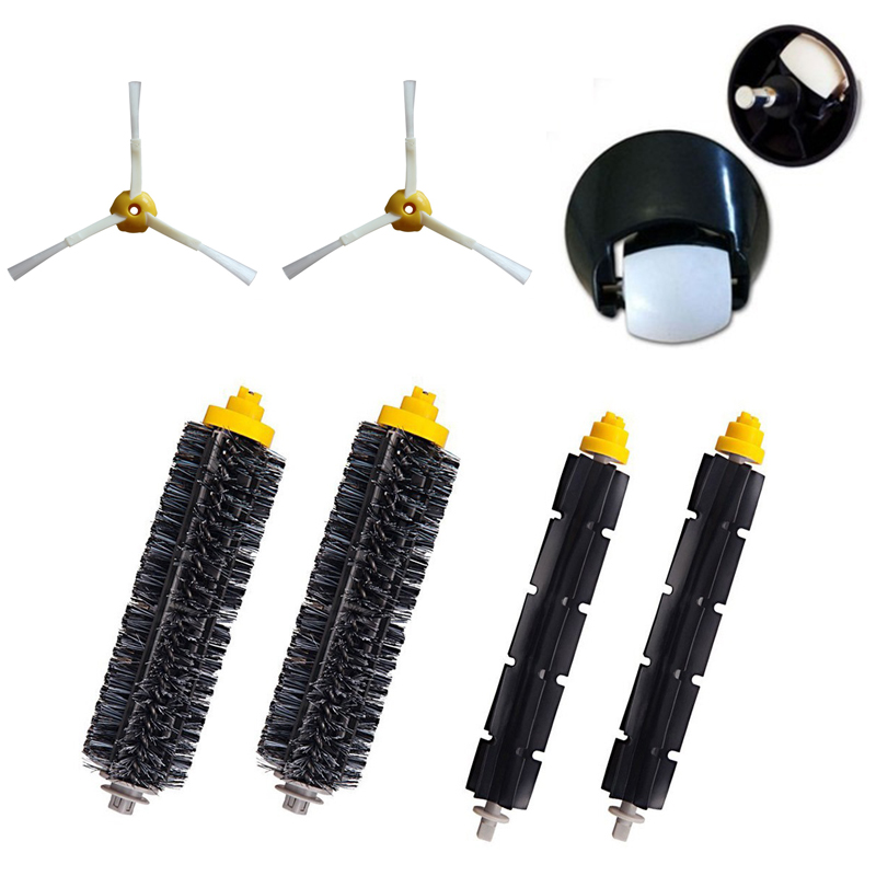 Front Wheel Caster Assembly Bristle Flexible Beater Brush Kit For iRobot Roomba 600 700 Series 620 650 760 770 780 790 parts flexible beater brush bristle brush for irobot roomba 500 600 700 series 550 630 650 660 760 770 780 790 vacuum cleaner parts