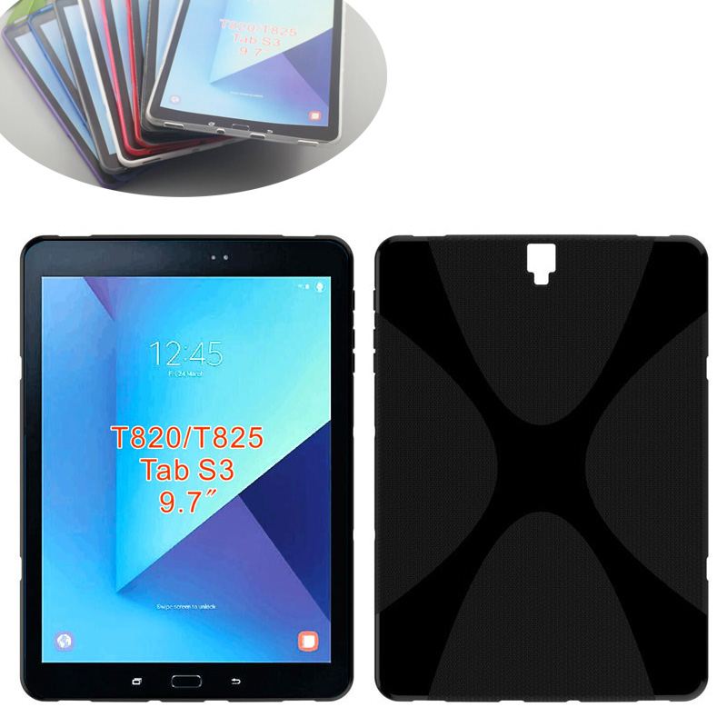 X Line Design Soft Silicon Case TPU Gel Cover Case For Samsung Galaxy Tab S3 9.7 T820 T825 Tablet Protective case stylish protective tpu back case for samsung galaxy s3 i9300 deep pink
