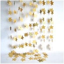 Guirnaldas de estrellas de papel para colgar en la pared, 2m de largo, cadena de cumpleaños, telón de fondo para fiestas de boda, hecho a mano, decoración del hogar para habitación de niños
