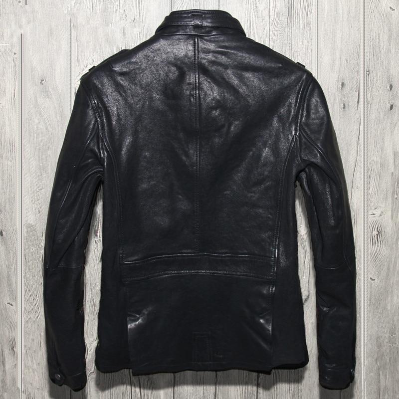 2018 Black Men Smart Casual Leather Jacket Genuine Sheepskin Slim ...