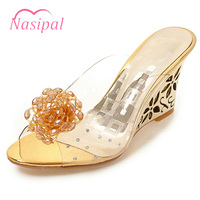 Nasipal Summer Sandals Women Peep Open Toe Wedge Sandals Gold Silver Crystal Flowers Sweet Jelly Shoes