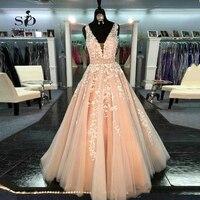 Персик свадебное платье 2018 с тонкими аппликациями Большие размеры бисером v образным вырезом Sexy Line на заказ развертки длина