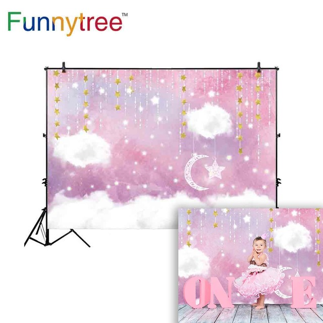 Funnytree background for photo studio pink sky cloud moon stars decoration baby shower photography backdrop photocall printed